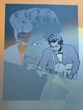 """RONNIE WOOD """" Chuck Berry  """"  HAND SIGNED ROLLING STONES SCREENPRINT RON"""