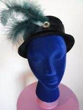 Vintage Black Crushed Velvet Hat with jeweled pin and feathers