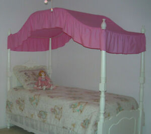 New Twin Size Princess Bed Canopy Fabric Top Topper Hot Pink Fuschia