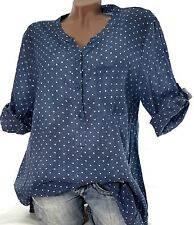 Gr.44-46-48 Tunika Bluse Amy (Blue Gepunktet) Damen Fischerhemd Jeans Optik Hemd