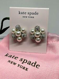 NWTs Kate Spade Pearl Power Cluster Stud Pearl & Rhinestone Earrings, Dust Bag!