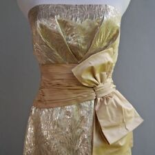 BCBG MaxAzria Metallic Gold Silk Jord Dress Retro VTG Pin Up Starlet NWT $300 4