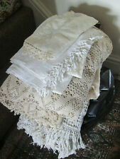 COLLECTION OF VINTAGE FRENCH CROCHET CURTAINS,BED COVER ETC