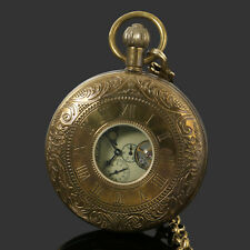 Mens Pocket Watch Mechanical Copper Retro Case Tourbillon Vintage Chain Luxury