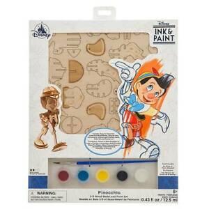 Disney Parks Ink & Paint Pinocchio 3D Wood Model and paint Set New Sealed
