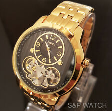elgin gold plated band men s wristwatches 12 hour dial new men elgin elegant skeleton automatic chronograph metal band analog watch