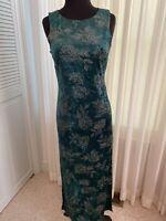 Women's Lisa Jo Green Gold Floral Long Maxi Sleeveless Dress Size 7/8 EUC