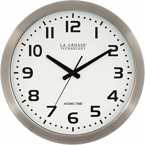 "La Crosse Technology Stainless Steel Atomic Clock - White Dial 16"" Metal Frame"
