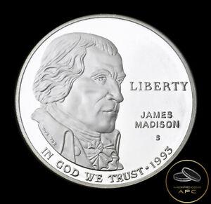 1993 S James Madison Commemorative 90% Silver Dollar Coin Super GEM Proof+++