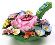 Antique Porcelain Flower Encrusted Honey Pot Inkwell Circa 1890