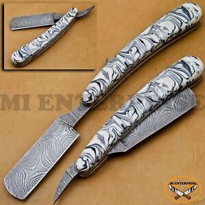 Damascus Steel Razor Cut Throat Shaving white Acrylic Resign Handle AN35