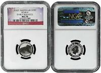 2012 Australia 1/10 Silver Koala NGC MS70 Early Releases Flag Label