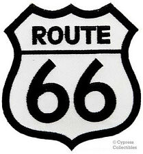 ROUTE 66 WHITE iron-on MOTORCYCLE BIKER PATCH new ROAD SIGN embroidered applique