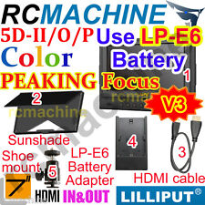 "Lilliput 7"" 5D-II/O/P HDMI Monitor PEAKING Canon LP-E6 adapter 5D Mark II+cable"