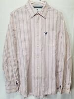 American Eagle Men's Size Large Pink White Blue Striped Button Up Long Sleeve