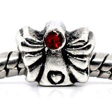Angel Red Rhinestone July Birthstone Heart Bead fits European Charm Bracelets