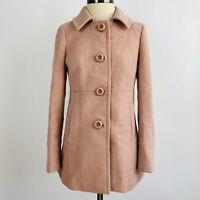 J. Crew Pale Blush Pink Pleated Long Peacoat Winter Coat Jacket Size 2 XS 17242