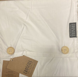 NWT Croscill Naturals Percale 100% Cotton West Coast CA King Fitted Sheet White