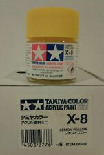 Tamiya acrylic paint. X-8 Lemon yellow. 10ml Mini.