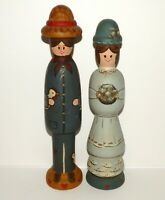 Folk Art Figurines Hand Painted Signed by Emily S. Country Plus 1983 Wooden Wood