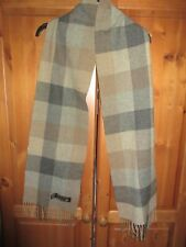 FRANGI 100% LAMBSWOOL BROWN LARGE CHECK MEN'S  KNITTED WINTER SCARF SCOTLAND