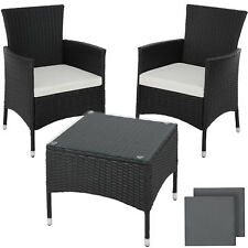Acier Ensemble de Jardin Poly Rotin Set Meuble Terrasse Balcon Table Chaise noir