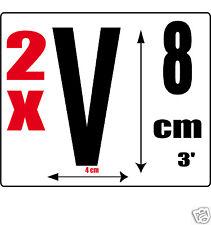 lot 2 lettres [V] Sticker autocollant noir hauteur 8cm Lettre adhésive en vinyle