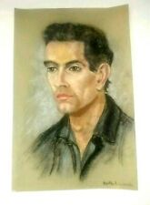Vintage Man Portrait Original Hand Drawn Pastel Charcoal Signed Bertha Levinsohn