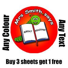 35 x 35mm Personalised READING Reward STICKERS School Teacher childrens Kids