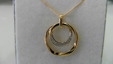 new 9ct 9kt white and yellow gold pendant circle white zircones + curb chain