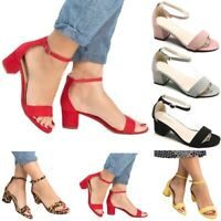 USA Women Summer Buckle Block Mid Heels Sandals Open Toe Ankle Strap Shoes Size