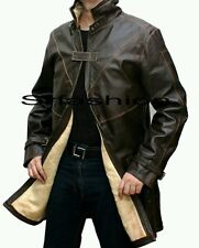 AIDEN PEARCE WATCH DOGS GENUINE COW LEATHER JACKET /TRENCH COAT (All Sizes)