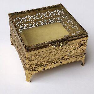"Vintage Gold Ormolu Filigree Beveled Glass Square Jewelry Trinket Casket Box~4"""
