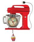 MICHELLE ALLEN Designs WALL CLOCK Decor RED CAKE MIXER Swing Pendulum CUPCAKE