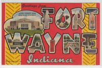 [66337] OLD LARGE LETTER POSTCARD GREETINGS from FORT WAYNE, INDIANA
