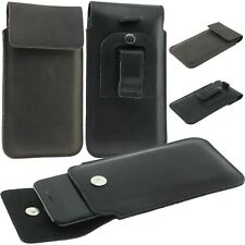 FLAP CASE COVER POUCH HANDMADE OF GENUINE LEATHER WITH CLIP AND LOOP FOR PHONE