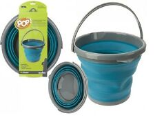 10L LITRE COLLAPSIBLE FOLDING BUCKET POP UP WATER CARRIER CAMPING HOME BLUE
