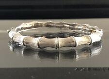 """Bamboo Solid 14k White Brushed Gold Heavy Hinged Bangle 6"""" Bracelet"""