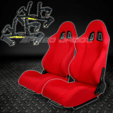 2 X UNIVERSAL TYPE-F1 RED WOVEN UPHOLSTERY RACING SEATS+4-PT HARNESS BLACK BELTS