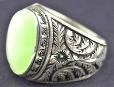 Men's sterling silver ring, natural jade gemstone, steel pen crafts handmade