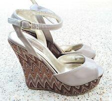 Steve Madden Wild Taupe Ankle Strap Shoes Sandals Platform Wedges Brown Size 8