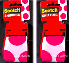 3M Scotch Hot Pink Dots Chic Shipping Packaging Tape Rolls Lot Set Of Two