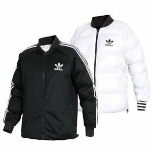 Adidas Womens Sports REVERSIBLE Jacket Puffer Coat Full Zip Jacket Black/White