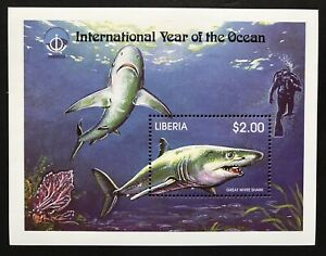 LIBERIA GREAT WHITE SHARK STAMPS S/S 1998 MNH INTL YEAR OF THE OCEAN MARINE LIFE