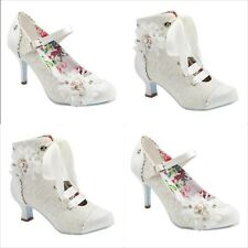 JOE BROWNS HITCHED VINTAGE IVORY SATIN  WEDDING BRIDAL MID LOW HEEL  SHOES BOOTS