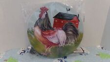 ROOSTER & FARM~METAL BURNER COVERS SET OF 2~