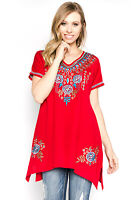 A and A Red Floral Contrast Embroidery Casual Evening Wear Cap Sleeve Blouse Top