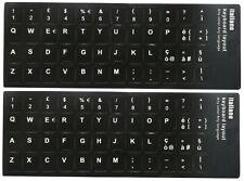 2 x Adesivi Neri Etichette Lettere per Tastiera Italiana Stickers Black Keyboard