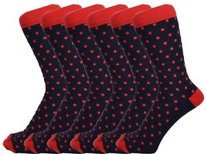 6 Pairs Men Cotton Rich Navy Blue/Red Polka Dot Everyday Ankle Socks Size 6 - 11
