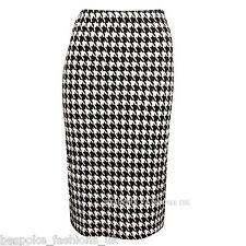 Womens Ladies Dogtooth Bodycon Elasticate Waist Pencil Midi Skirt Plus Size 8-20 XL 14-16
